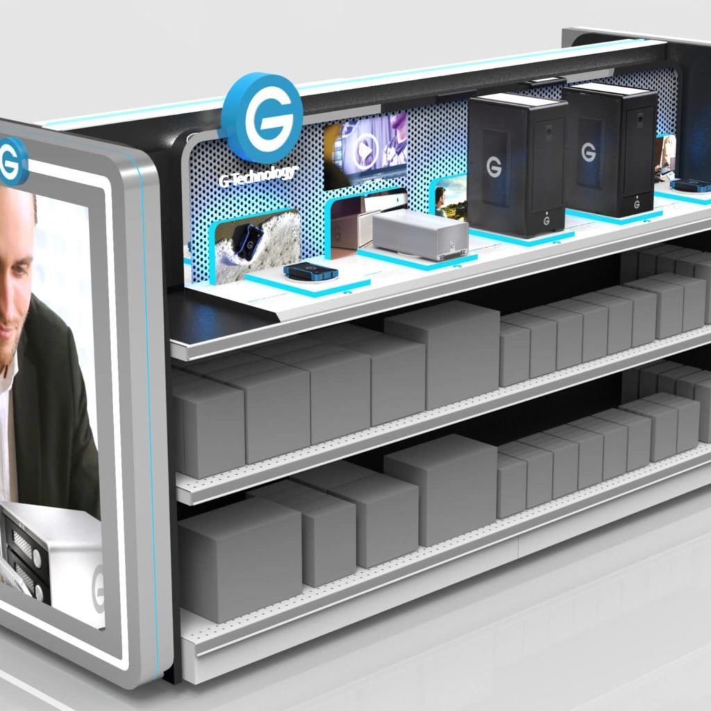 Tech Retail Display With Digital Signage